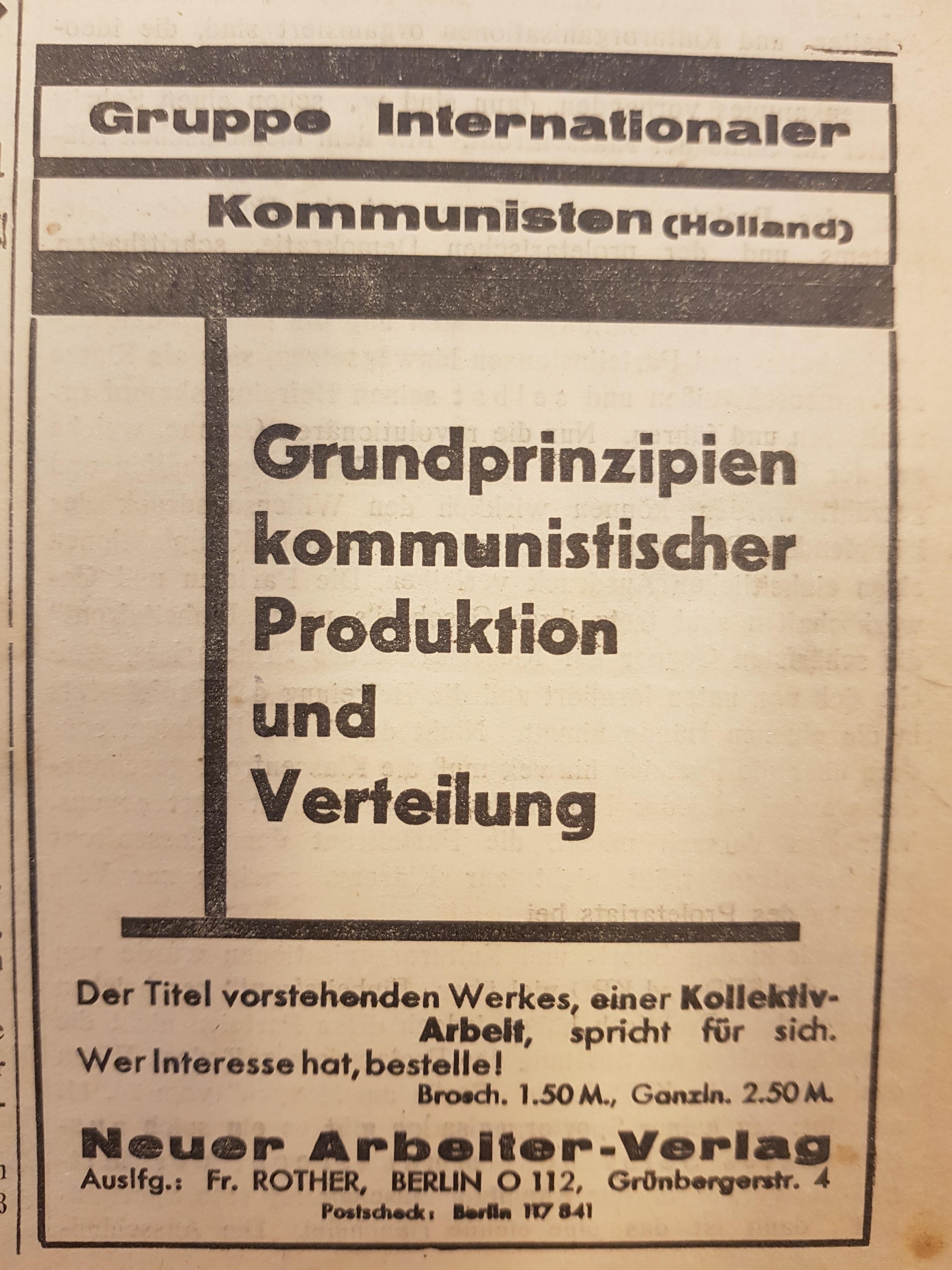 Principios fundamentales de la producción y distribución comunista. GIC. Edición en español.  Grundprinzipien-1932